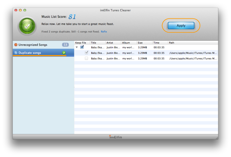 apply the cleanup iTunes music library