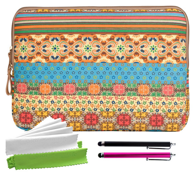 ColorYourLife Bundle of Bohemian Style Canvas Fabric Sleeve Case Bag Cover for Kindle Fire HD HDX 7
