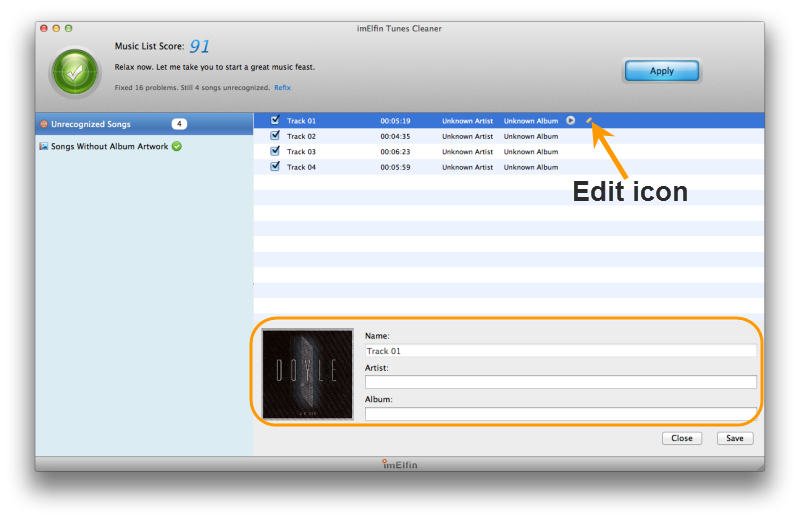 Edit song metadata info