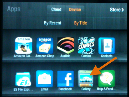 """convert DVD to Kindle Fire - Select """"Gallery"""" on Kindle Fire"""