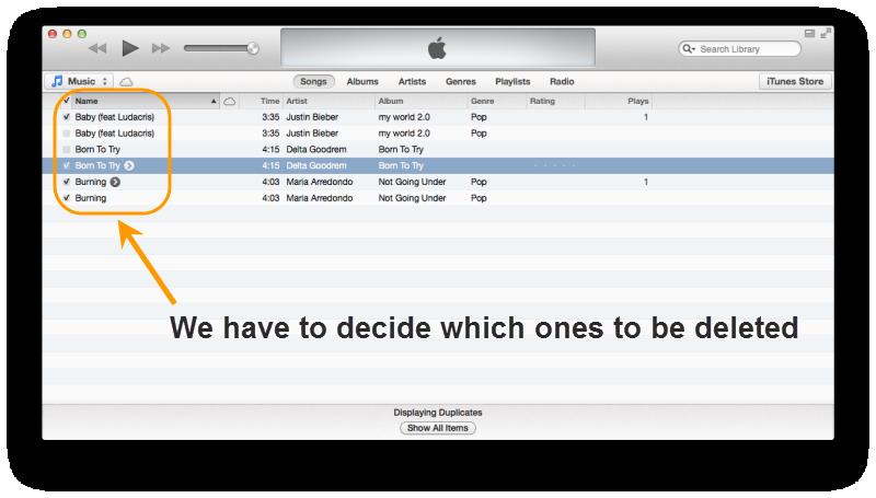 delete duplicates in iTunes 11