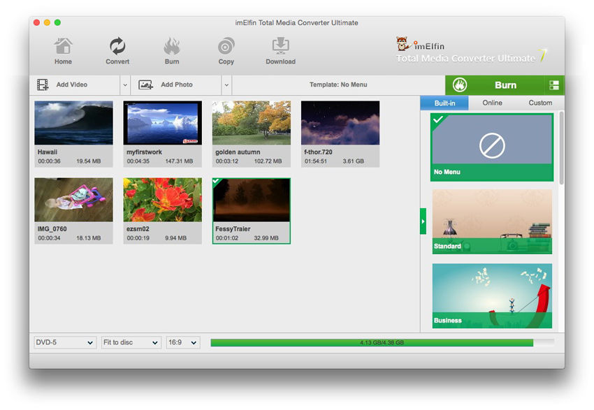 ImElfin Blu-ray Creator for Mac full screenshot
