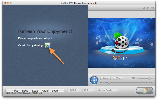 add videos to imElfin DVD Creator on Mac
