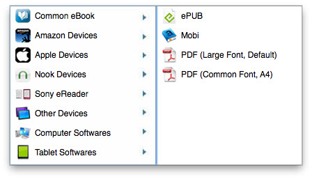 select common ebook format or device as output format