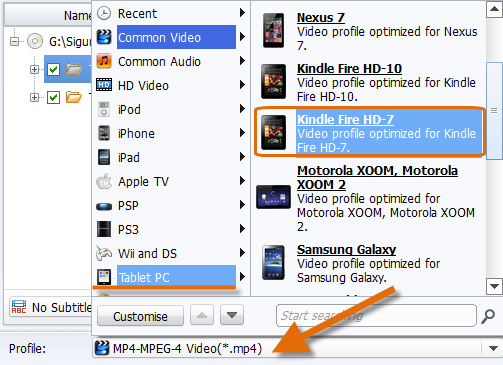 convert DVD to Kindle Fire - Set the output format as Kindle Fire