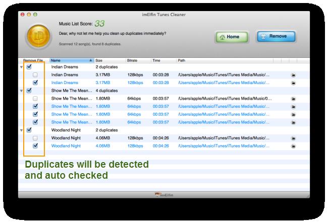 iTunes music duplicates detected