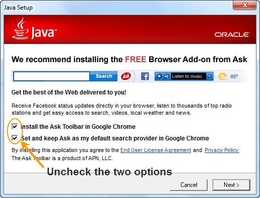 uncheck ask toolbar on Java installation window